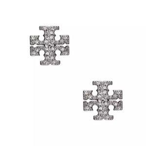 Tory Burch Silver Crystal Logo Stud Earrings